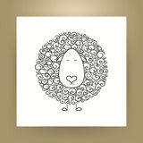 Hand Drawn Outline Sheep  over White Paper Royalty Free Stock Images