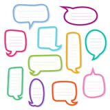 Hand drawn outline speech bubbles. Dialogs boxes. Set of empty quote boxes. Text information frame. Vector design element Royalty Free Stock Photo