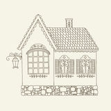 Hand drawn outline vector house Royalty Free Stock Images