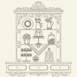 Hand drawn outline vector vintage kitchen shelves/cabinet Stock Photos
