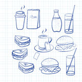 Hand drawn outlines of food Stock Photo