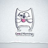 Owl and cup of coffee, vector eps 10 Stock Photos