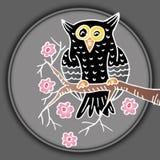 Hand drawn Owl sitting on branch. Shirt design Royalty Free Stock Photo