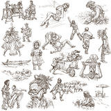 An hand drawn pack, line art - PEOPLE Royalty Free Stock Photo