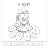 Hand drawn page for coloring book with cute little ballerina vector illustration. Hand drawn page for coloring book with cute little ballerina vector Royalty Free Stock Image