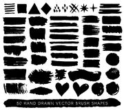 Hand drawn paint grunge brush strokes, drops and shapes. Vector royalty free illustration