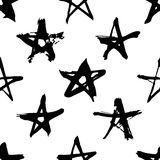 Hand drawn paint seamless pattern. Black and white stars background. Abstract brush drawing. Grunge Vector art illustration Stock Illustration