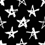 Hand drawn paint seamless pattern. Black and white stars background. Abstract brush drawing. Grunge Vector art illustration Vector Illustration