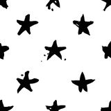 Hand drawn paint seamless pattern. Black and white stars background. Abstract brush drawing. Grunge Vector art illustration Royalty Free Illustration