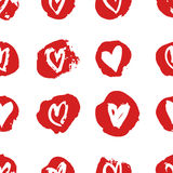 Hand drawn paint seamless pattern. Red and white vector hearts background. Abstract brush drawing. Hand drawn paint seamless pattern. Red and white hearts Royalty Free Illustration