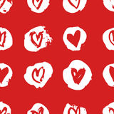 Hand drawn paint seamless pattern. Red and white vector hearts background. Abstract brush drawing. Hand drawn paint seamless pattern. Red and white hearts Vector Illustration