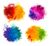 Hand drawn paint splashes isolated on white Stock Images
