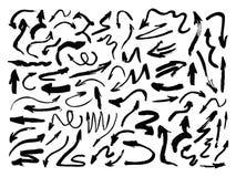 Hand drawn paintbrush vector arrows. Grunge arrow set on white. Royalty Free Stock Photo