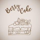 Hand drawn painted berry cake, dessert sketch art Stock Image