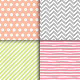 Hand drawn painted geometric seamless patterns set Stock Photography
