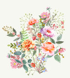 Hand drawn  painted pattern. Vector illustration. Hand drawn floral wreath pattern on white background Royalty Free Stock Photo