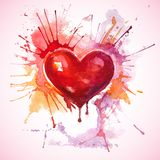 Hand drawn painted red watercolor heart Stock Photography