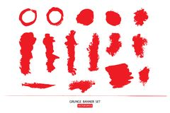 Set of hand drawn painted scratched  Illustrations template of Grunge Halloween background with blood splats banners abstrac. Hand drawn painted scratched Stock Photo