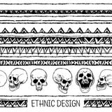 Hand drawn painted seamless pattern. Black and white colors. Set of ink ethnic stripes with Skulls. Ink Set. Hand drawn painted seamless pattern. Set of ink Stock Images