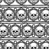 Hand drawn painted seamless pattern. Black and white colors. Set of ink ethnic stripes with Skulls. Ink Set Stock Image