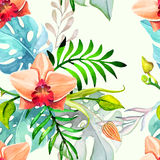 Hand drawn painted seamless pattern. Vector illustration Stock Images