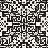 Hand drawn painted seamless pattern. Vector tribal design background. Ethnic motif. Geometric ethnic stripe lines. Illustration. Black and white colors. For art royalty free illustration