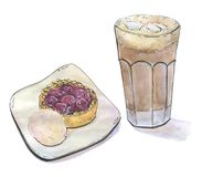 Hand drawn painted set of watercolor isolated coffee cocoa with marshmallow in a glass with cherry tart pie cake and ice cream. On white background Stock Photos