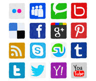 Hand-drawn and Painted Social Media Icons Stock Images