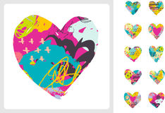 Hand drawn, painted vector colorful heart icons set Royalty Free Stock Photos