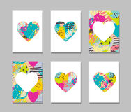 Hand drawn, painted vector colorful heart icons set Stock Image