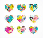 Hand drawn, painted vector colorful heart icons set Stock Images