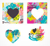 Hand drawn, painted vector colorful heart icons set Stock Photography