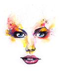 Hand drawn painting of a beautiful woman`s face, highlighting he Stock Photography