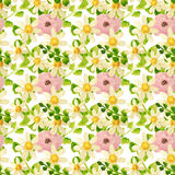Hand-drawn with paints chamomile, pink flowers and green leaves on white background, seamless pattern Stock Photography