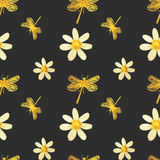 Hand-drawn with paints pearly chamomile and gold dragonflies on gray background, seamless pattern Stock Photo
