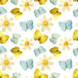 Hand-drawn with paints pearly chamomile, golden and blue butterflies on white background, seamless pattern Stock Images
