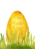Hand-drawn with paints pearly grass and golden Easter egg with text Happy Easter! Royalty Free Stock Photos