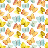 Hand-drawn with paints pearly red, yellow and blue butterflies on white background, seamless pattern Stock Photography