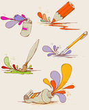 Hand drawn paints and pencils Royalty Free Stock Images