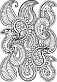 Hand drawn paisley pattern for adult coloring page A4 size  Stock Images