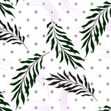 Hand Drawn Palm leaves on crosses background Surface pattern nature print. 2018 swimwear texture. Hand Drawn Palm leaves on crosses background Surface pattern Royalty Free Stock Photo