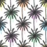 Hand drawn palm trees seamless pattern with colorful paint splatters. royalty free illustration