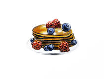 Hand drawn pancakes. Isolated food cookie Stock Image