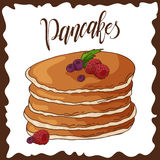 Hand drawn pancakes with strawberries. Vector illustration with lettering. Poster for menu or label design Royalty Free Stock Photography