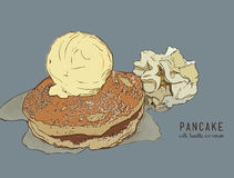 Hand drawn pancakes with Vanilla ice cream and syrup. Pancake vector Stock Photography