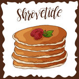 Hand drawn pancakes. Vector illustration with lettering. Russian holiday. Shrovetide Royalty Free Stock Photos