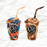 Hand drawn paper cup with coffee Royalty Free Stock Images