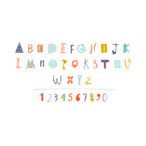Hand Drawn paper cut out alphabet in vector. Stock Image