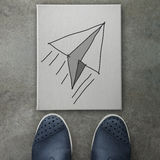 Hand drawn paper plane  icon on canvas board Royalty Free Stock Photos