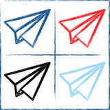 Hand drawn paper planes. Vector illustration. Doodle style Royalty Free Stock Photos